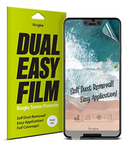 Ringke Dual Easy Film [2 Stück] Kompatibel mit Google Pixel 3 XL Schutzfolie Hohe Auflösung [Wischfest Beschichtung] Einfache Befestigen Hülle Kompatibel Pixel 3XL Displayschutz Folie Full Cover