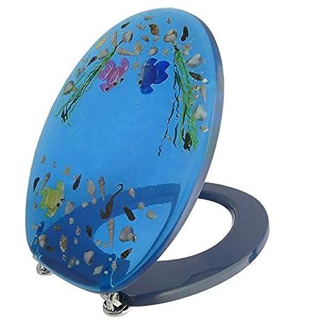 Toilettensitz / Wc Deckel / Toilettendeckel / Klobrille Top Qualität Meer Muscheln Wasser blau