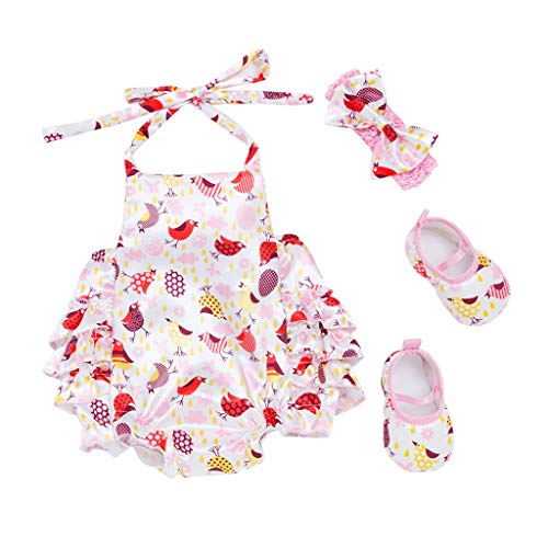 Sunnywill Ostern Kleinkind Baby Cartoon Print Strampler Bodysuit Overall + Stirnband + Schuhe Set