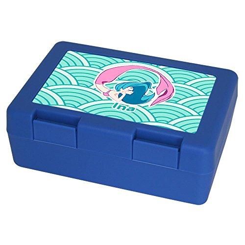 Eurofoto Brotdose mit Namen Ina und schönem Motiv mit Meerjungfrau in türkis für Mädchen | Brotbox - Vesperdose - Vesperbox - Brotzeitdose mit Vornamen