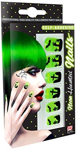 WIDMANN-Set 12Nägel Stiletto fluoreszierende Womens, grün, One Size, vd-wdm05367