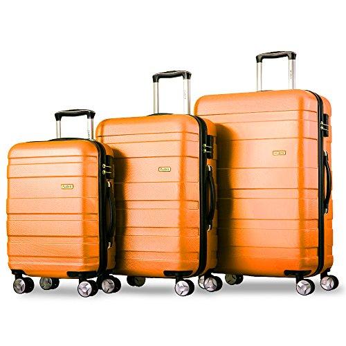 Flieks Kofferset Hartschalen 3 teilig Reisekoffer 3 TLG. Zwillingsrollen Trolleys Koffer mit Zahlenschloss, Gepäck-Sets mit 4 Doppel-Rollen, Set-XL-L-M (Orange, Set)