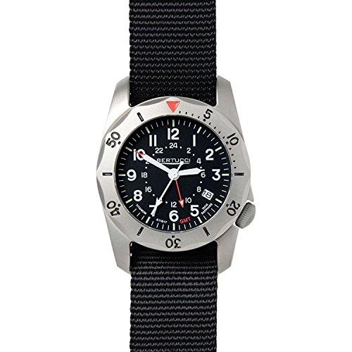 Bertucci a-2tr vintage GMT 12117fascia di nylon nero in titanio da uomo al quarzo, quadrante