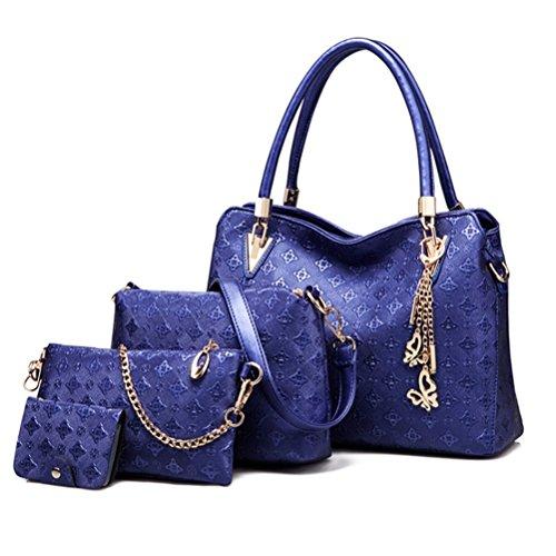 Longlove Frauen Clutch Bag 4 Set Kunstleder Schulter Crossbody Handtasche Handtaschen (Schwarz) Navy blau