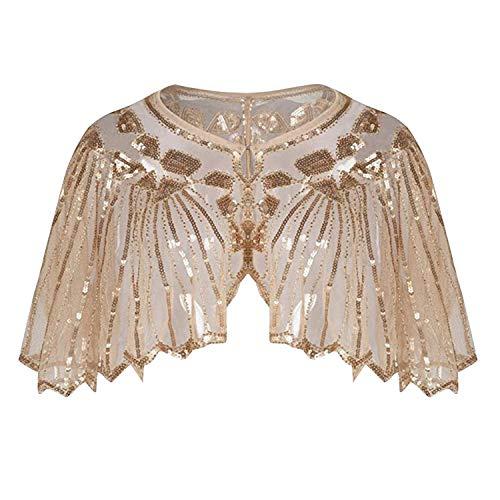 Jolisson Damen Stola Retro Schal Pailletten Geometrie Umschlagtücher 1920er Jahre Stil Art Deco für Hochzeit Party