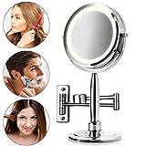 Medisana CM 845 runder Kosmetikspiegel mit Wandhalterung - Tischspiegel mit LED-Beleuchtung und 5-facher Vergrößerung - Schminkspiegel mit 360° Schwenkfunktion - 88552