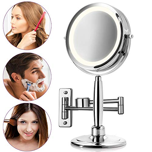 Medisana CM 845 3 en 1 Miroir cosmétique (miroir fixe, miroir mural, miroir à main), grossissement normal et 5x, 17 DEL, chromé - 88552