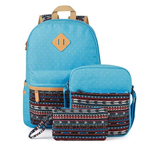 Plambag Leichte Segeltuch Rucksack Set 3 Pcs für Mädchen Jungendliche Damen, Schulrucksack + Schultertasche / Messenger Bag + Mäppchen / Purse (Schwarz) Himmelblau