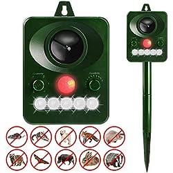 Répulsif Chat Ultrason Solaire Golwof Repulsif Chat Exterieur Étanche Repousser Animaux Nuisibles avec 5 Modes Réglables, Détecteur de Mouvement à infrarouge, Flash, Sensibilité et Fréquence Réglable