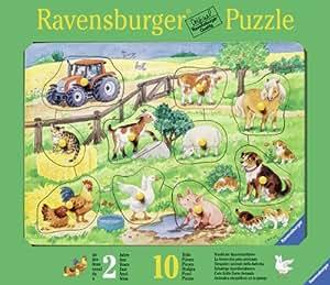 Ravensburger - 03666 - Puzzle Enfant en bois - La Ferme Des Jolis Animaux - 10 Pièces