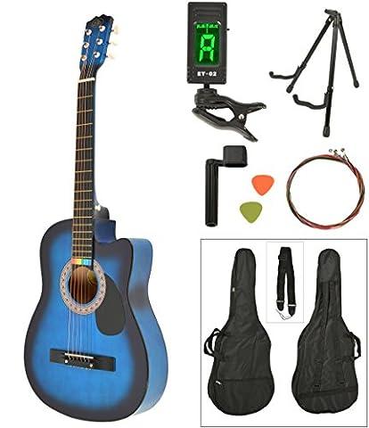 Akustik Western Gitarre Westerngitarre in Blau Sunburst mit Gitarrentasche, LCD