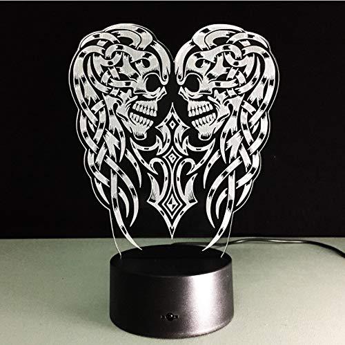 Halloween Weihnachten 3D Optische Täuschung Led Tisch Nachtlicht Schädel Geist Kabel Betrieben Schreibtischlampe