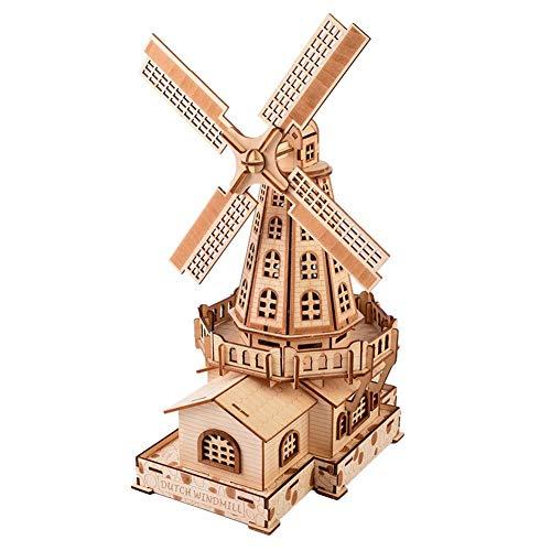 Zerodis 3D Holz Holländische Windmühle Puzzle Spielzeug Pädagogisches Handwerk Puzzle DIY Montage Modell Constructor Kit Holz Mechanische Geschenk für Kinder Erwachsene - Erwachsenen-modell-kits