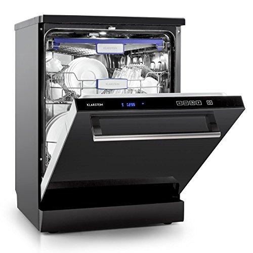 Klarstein Amazonia 90 Luminance Spülmaschine Geschirrspüler Geschirrspülmaschine 60 cm breit Glasfront für 14 Maßgedecke geräuscharm LED-Beleuchtung Startzeitvorwahl schwarz