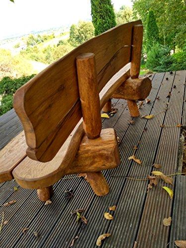 Gartenbank aus Massivholz | Farbe Eiche – Parkbank aus Akazien- und Tannenholz | Perfekt als Geschenk - 2