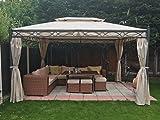 Greenbay, 3x 4m Gartenhaus aus Metall, Pavillon, Vorzelt, Sonnendach, Sonnenschutzblende, Garden Tempel, Party Zelt, Farbe Sand