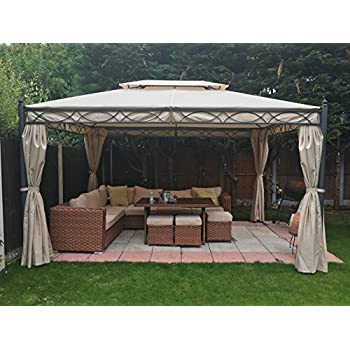 Greenbay 3x4m Sand Metal Gazebo Pavilion Awning Canopy Sun Shade Screen Shelter Garden Party Tent  sc 1 st  Amazon UK : metal tent - memphite.com