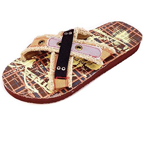 Magnus Herren Hausschuhe Badeschuhe (12C) Badelatschen Pantoffel Pantoletten Schuhe Neu Größe 40, Farbe Braun