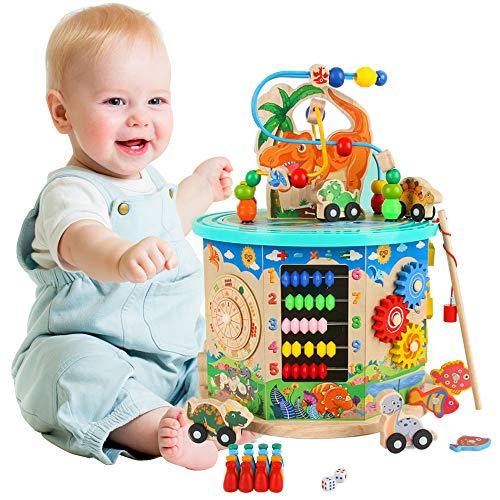 Cubo de actividad de madera 11-en-1 Multifunción Bead Maze Dinosaur World Activity Center Juguete educativo Niño y niña Regalo para niños pequeños