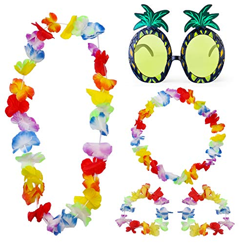 Haichen Ananas Sonnenbrille Hawaiian Floral Leis Set mit Girlande Stirnband und Armband für Hawaiian Summer Beach Tropical Moana Karneval Party (B)