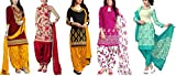 Maxthon Fashion Women's Printed Unstitched Regular Wear Salwar Suit Dress Material (Combo pack of 5)(Max_Combo_7091)(Max_3059_Maroon)(Max_3046_Red)(Max_3055_Black)(Max_3030_Pink)(Max_3007_Rama)