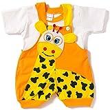 Miss U Baby Boys cotton Dungaree set (Orange, 0-6 months)