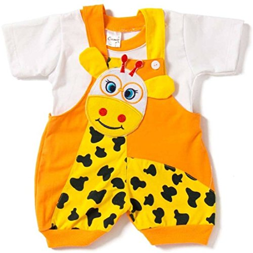 Miss U Baby Boys cotton Dungaree set (Orange, 0-6 months)
