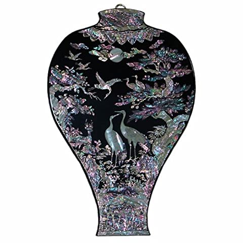 Mother of Pearl Lacquer Wood Black Prunus Vase Bird Pine Tree Design Wall Hanging Art Decor Plaque by Antique Alive Home Decor