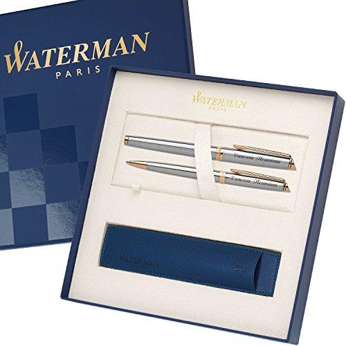 WATERMAN Schreibset HEMISPHERE Essential Edelstahl G.C. mit persönlicher Laser-Gravur Füllfederhalter und Kugelschreiber im großen Geschenk-Etui