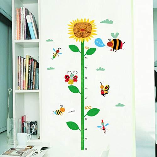 XIONGXI Türsticker Wandsticker Linealsticker Kinderzimmer Kindergarten Klassenzimmer Flurdekoration Sonnenblumenhöhe Aufkleber Babymaßhöhe
