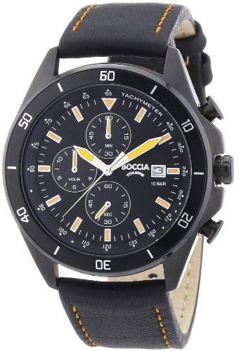Boccia Herren-Armbanduhr XL Chronograph Quarz Leder 3762-05