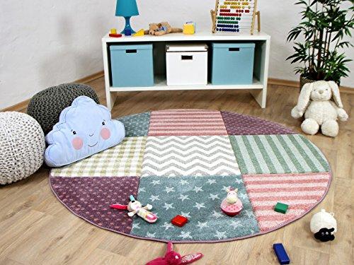 Kinder Teppich Maui Kids Pastel Bunt Karo Sterne Rund in 3 Größen