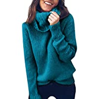 743c1ff2f6 Women Solid Long Sleeve Turtleneck Knitted Sweater Jumper Pullover Top  Blouse