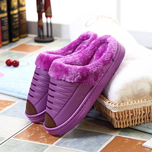 Coppie fankou cotone pantofole inverno piscina home ladies metà pack a caldo con fondo spesso impermeabile in pelle PU cashmere uomini Marineblau