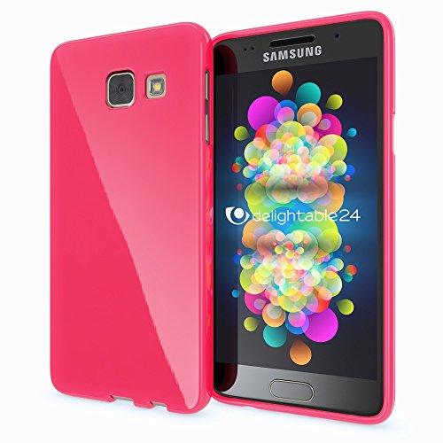 NALIA Handyhülle kompatibel mit Samsung Galaxy A5 2016, Ultra-Slim TPU Silikon Jelly Case Hülle, Dünne Gummi Schutzhülle Skin Etui Handy-Tasche Telefon-Schale Back-Cover Smart-Phone Bumper - Pink Pink Gummi Case