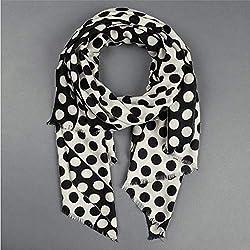 CWLLWC Bufanda de Las señoras Lunares Blanco y Negro impresión Bufanda mantón de la Manera cálida Bufanda de otoño Invierno,