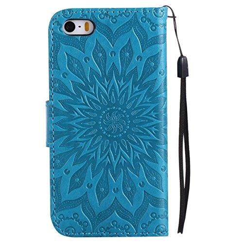 iPhone 6s Hülle,iPhone 6 Hülle Flip Case,Ekakashop Retro Lila Sonnenblume Muster Bookstyle PU Lederhülle Tasche Schutzhülle Schale Weichen Silikon Klapptasche Etui Magnetverschluß mit Standfunktion Ka Blau