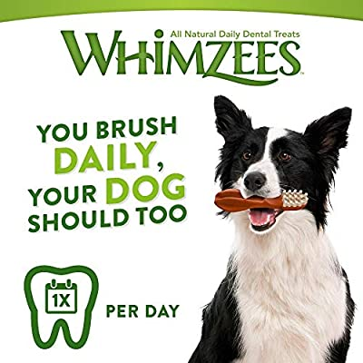 WHIMZEES Natural Dental Dog Chews Long lasting, Medium Veggie Strip, 14 Pieces by WellPet UK