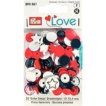 Prym 393061 Sternform Color snaps Prym Love Druckknopf Color KST 12,4mm rot/weiß/marine