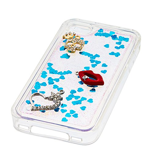 Qiaogle Diamond Coque - TPU Flowing Liquid Floating Glitter Stars Quicksand Housse Etui Case Cover pour Apple iPhone 6 Plus / iPhone 6S Plus (5.5 Pouce) - YB46-06 Pink Series / Rouge lips + Crâne + Lo YB46-01 Bleu Series / Rouge lips + Crâne + Love