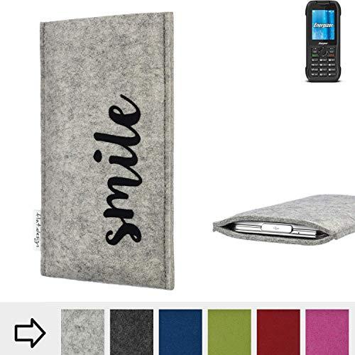 flat.design Handy Hülle FARO für Energizer H240S personalisierbare Handytasche Filz Tasche Case Smile fair