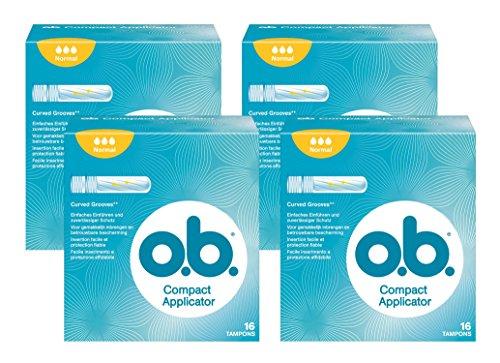 O.b. Compact Applicator Normal Tampons mit geschwungenen Rillen und Einführhilfe, Zuverlässiger Schutz gegen Auslaufen bei normalen Blutungen, 4er Pack (4 x 16 stuck)