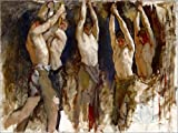Canvas print 130 x 100 cm: Men at an Anvil, study for The Spirit of Vulcan by Edwin Austin Abbey / Bridgeman Images - ready-to-hang wall picture, stretched on canvas frame, printed image on pure ca...