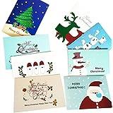Sisit Carte de voeux de Noël 8x. 16 * 8cm 8Pcs unique fait main carte de voeux joyeux Noël papier avec enveloppe. (8 pièces)