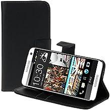 kwmobile Funda para HTC Desire 610 - Wallet Case plegable de cuero sintético - Cover con tapa tarjetero y soporte en negro