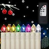 Hengda® 20x LED Kerzen Kabellose RGB Lichterkette INNEN Deko Weihnachtsbeleuchtung Set mit Fernbedienung Party (20)