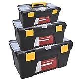 Acecoree 3PCS Werkzeugkasten Werkzeugbox Werkzeugkiste aus Kunststoff Transportbox Werkzeug Kiste Werkzeugkoffer leer groß
