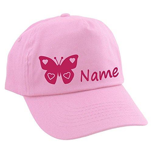 Baby CAP Schmetterling mit Namen oder Text personalisiert rosa 1-2 Jahre