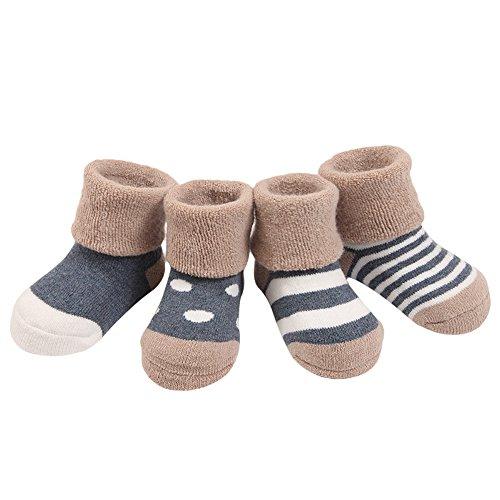 Fletion 4 Paar Winter Warme Baby Jungen Mädchen Verdickte Wollsocken Kinder Gekämmte Baumwolle Wolle Socken mit Fleece-Futter