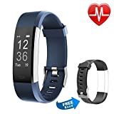 Fitness Tracker Proze Band+ HR Activity Tracker Watch with Heart Rate Monitor Pedometer IP67 Waterproof Sleep Tracker GPS Wearable Smart Bracelet for iOS & Android Smartphones for Women Men Kids Electric Blue + Black Strap